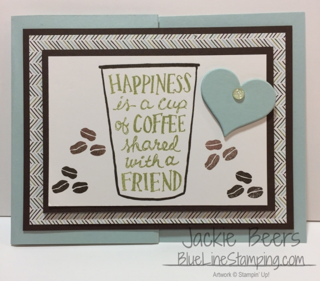 Stampin' Up! Coffee Cafe gift card holder, stampinup, Jackie Beers, jackiebeers