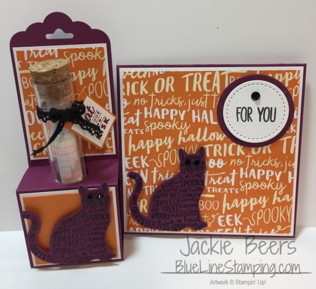 Stampin' Up! Spooky Cat Treat Tubes, stampinup spooky cat, test tube, Jackie Beers, jackiebeers