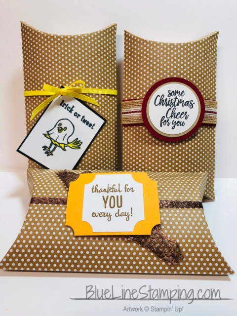 Stampin' Up!, Jackie Beers, Pillow Boxes, Kraft Pillow Boxes, Takeout Treats, Many Blessings, Trick or Tweet